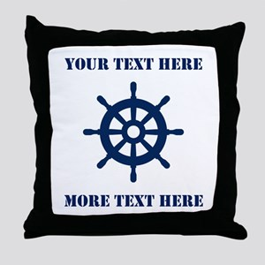Custom Nautical Ship Wheel Throw Pillow Home Decor